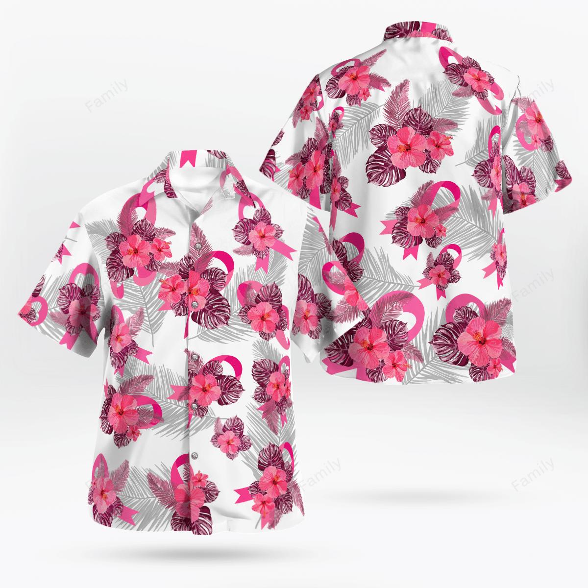 Breast Cancer Awareness Tropical Hawaiian Shirt
