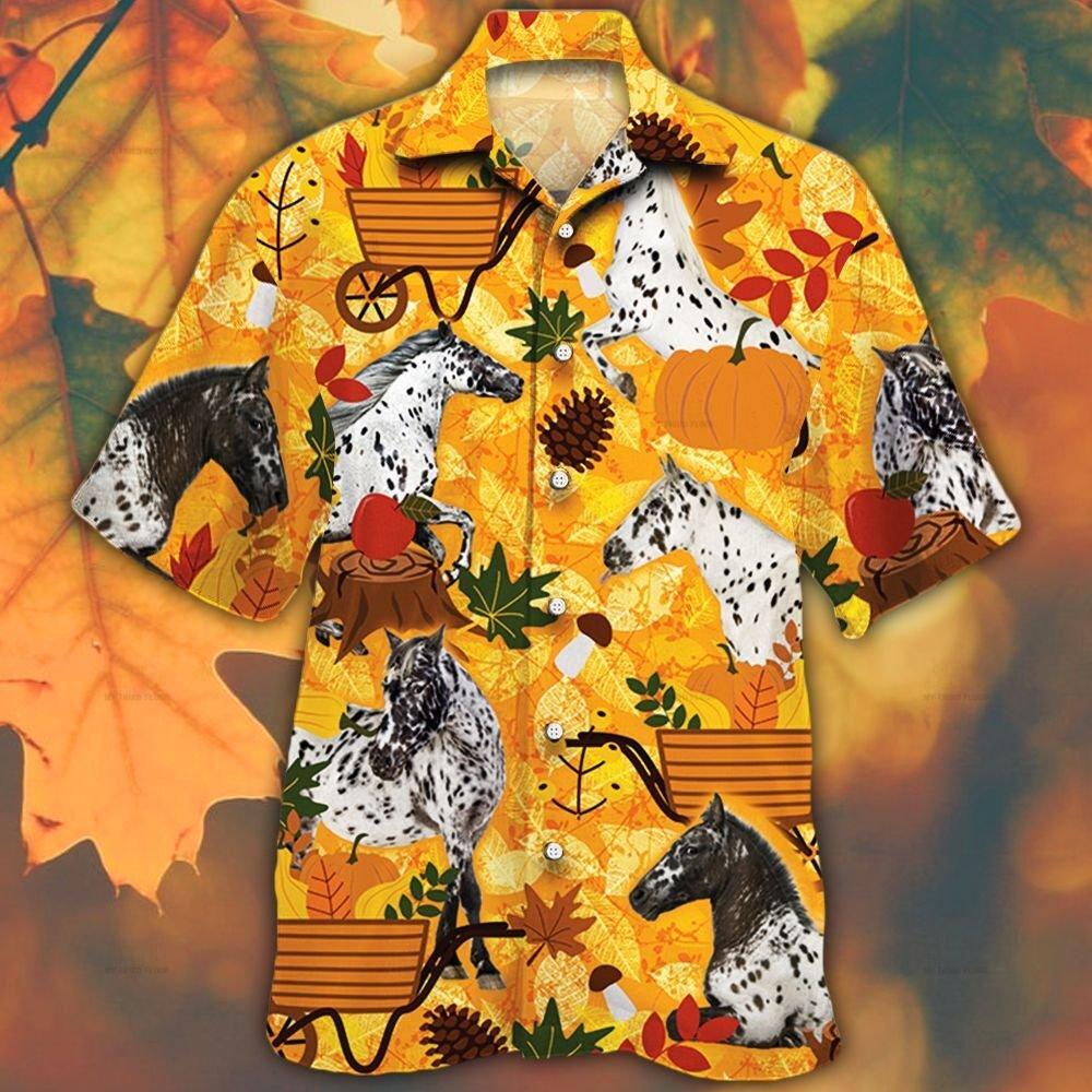 Appaloosa Horse Lovers Orange Nature Autumn Hawaiian Shirt