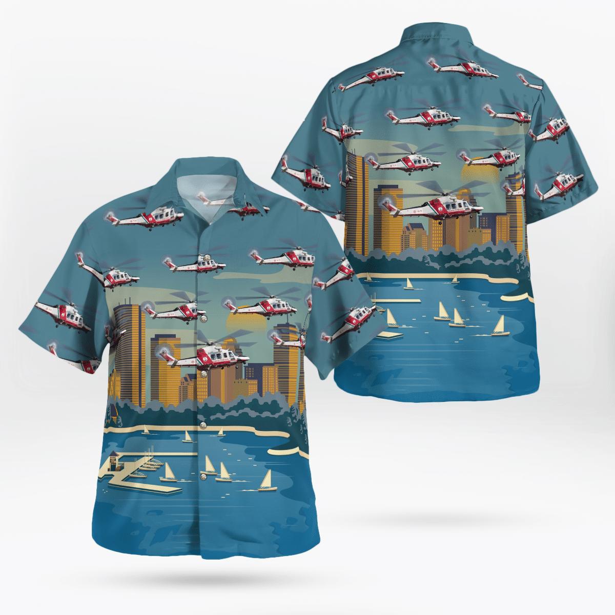 Guardia Costiera AgustaWestland AW139 Hawaiian shirt Servizio Aereo della