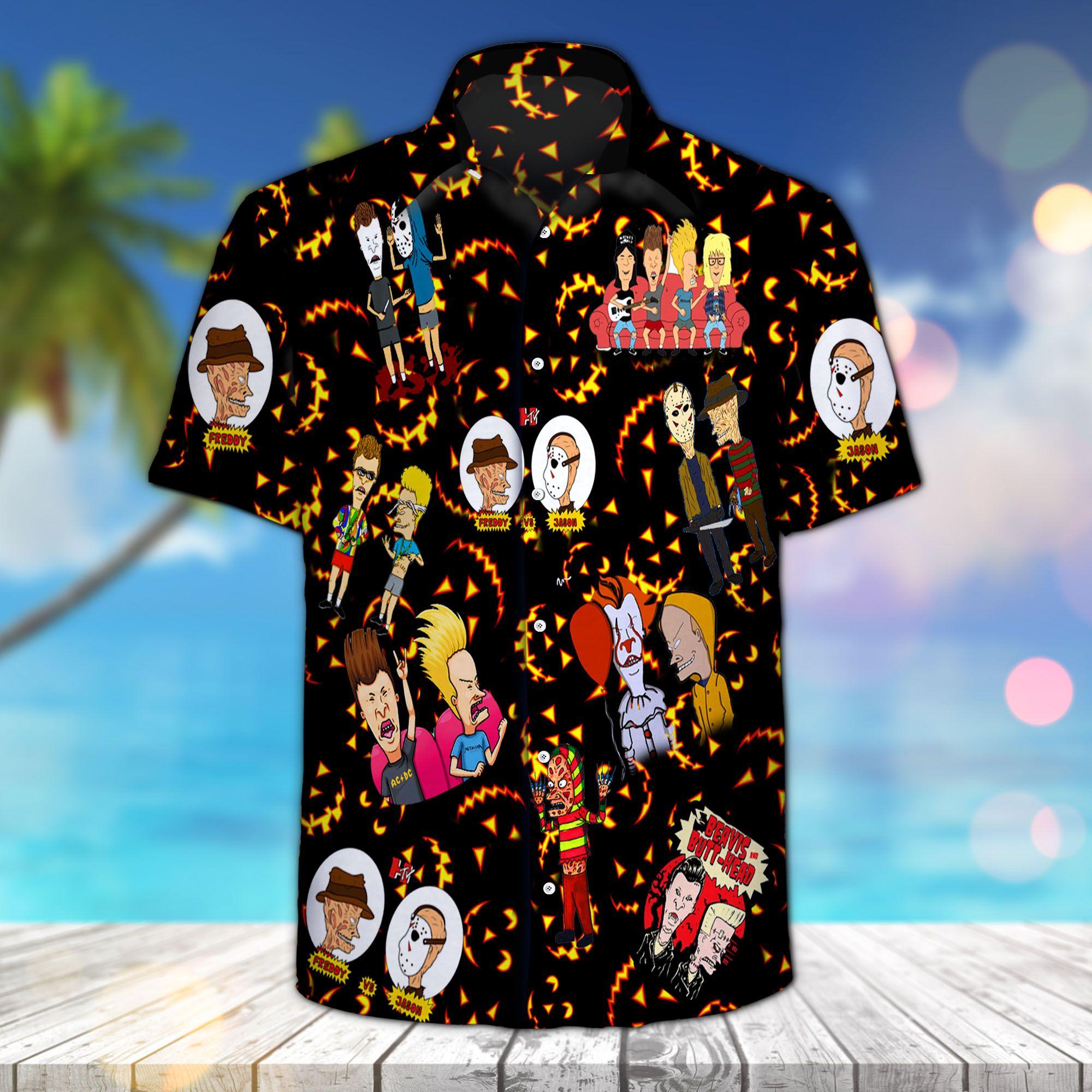 Beavis and Butt-Head Funny Halloween Hawaiian Shirt