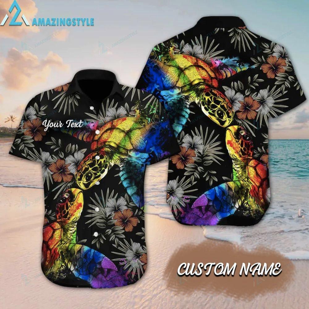 Custom LGBT Turtle Hibiscus Hawaiian Shirt