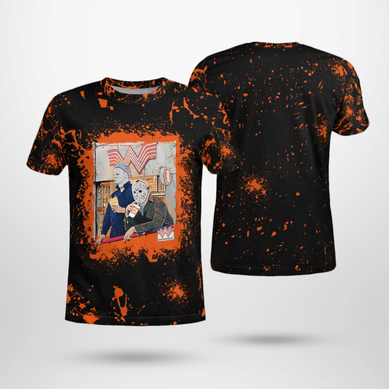 Whataburger Jason Voorhees Michael Myers Halloween Bleached t Shirt