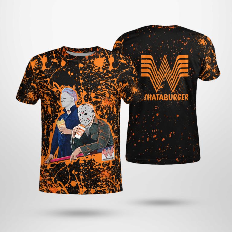 Halloween Whataburger Jason Voorhees Michael Myers Hawaiian Shirt