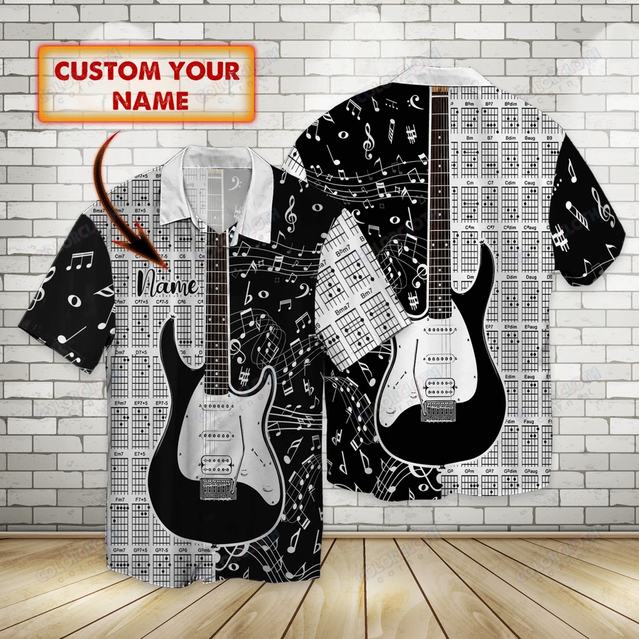 The Guitar Music Note Personalized Hawaiian Shirt