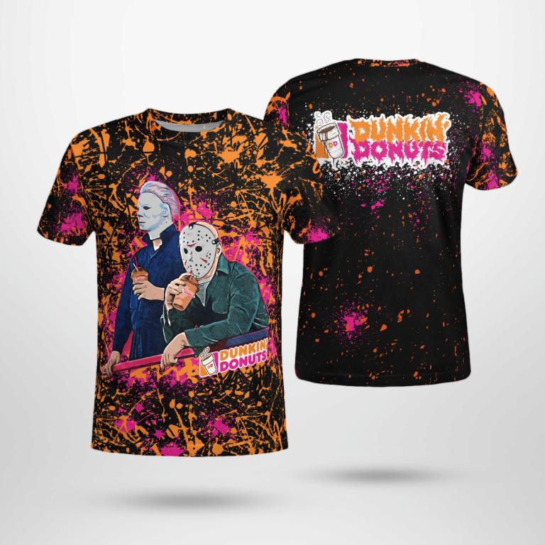 Dunkins Bleached Jason Voorhees Michael Myers Halloween 3D Logo Shirt