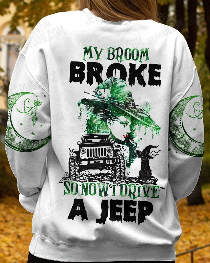 Halloween witch green hair broke broom and drive Jeep 3D T shirt