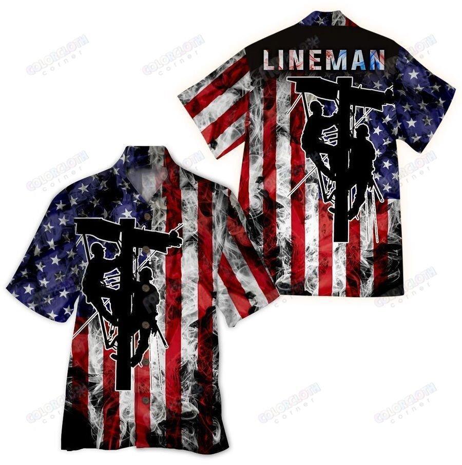 Lineman Flag Smoke Background Hawaiian Shirt
