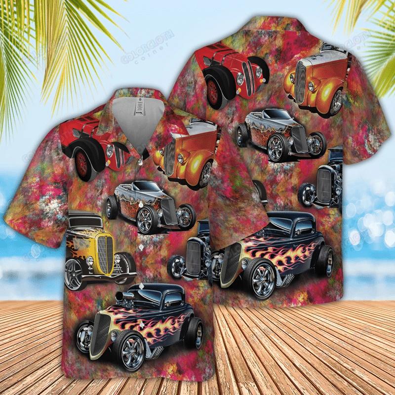 Hot Rod Seamless Pattern Hawaiian Shirt