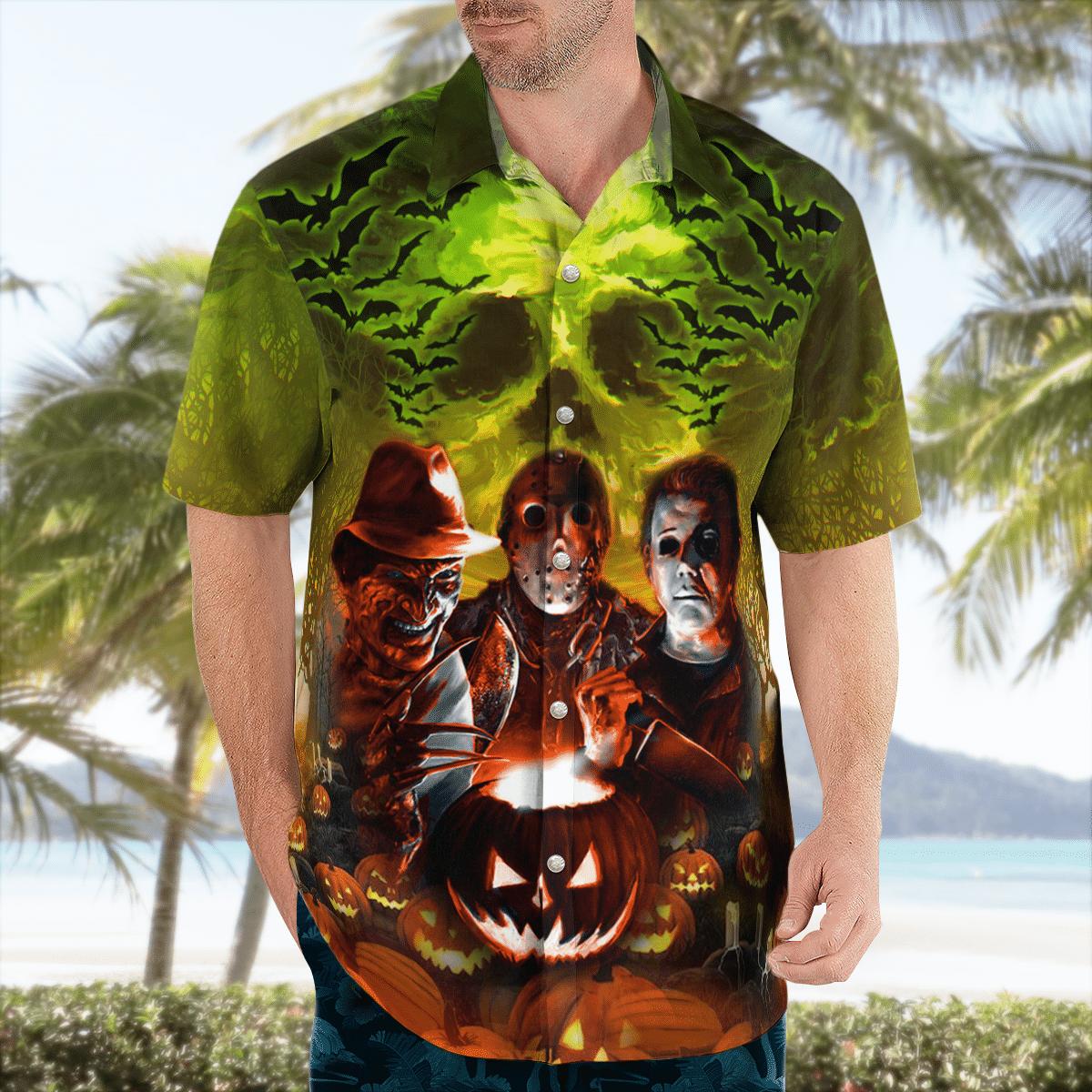 The Season To Be Scared green Skull Hawaiian Shirt