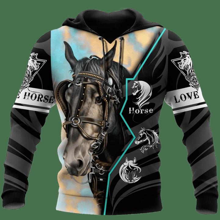 Beautiful Horse Black Hoodie 3D
