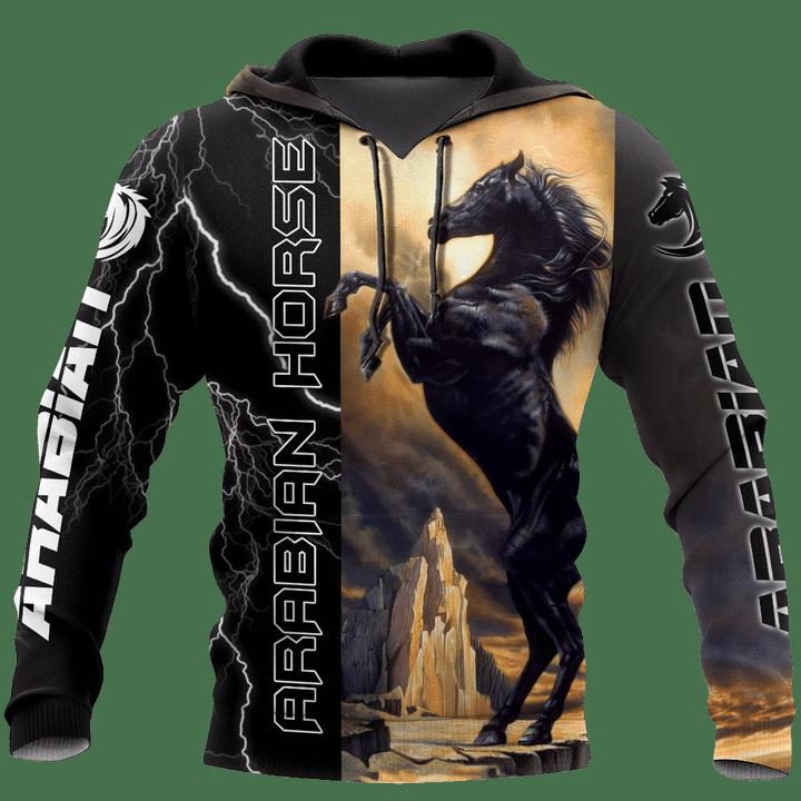 Black Stallion Arabian Horse Hoodie 3D