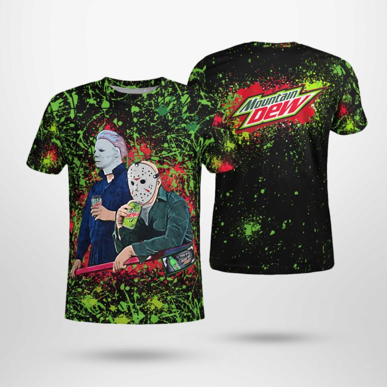 Halloween Mountain Dew Bleached Jason Voorhees Michael Myers Shirt