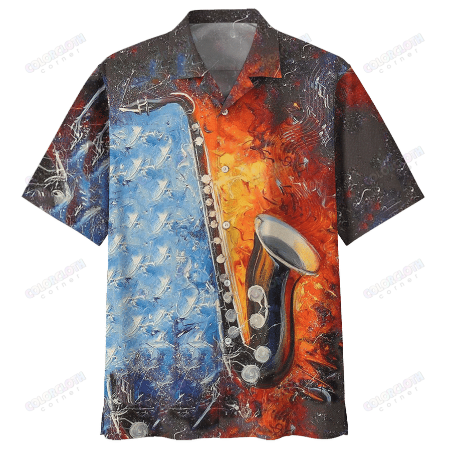 Love Saxophone Musical Instrument Hawaiian Shirt