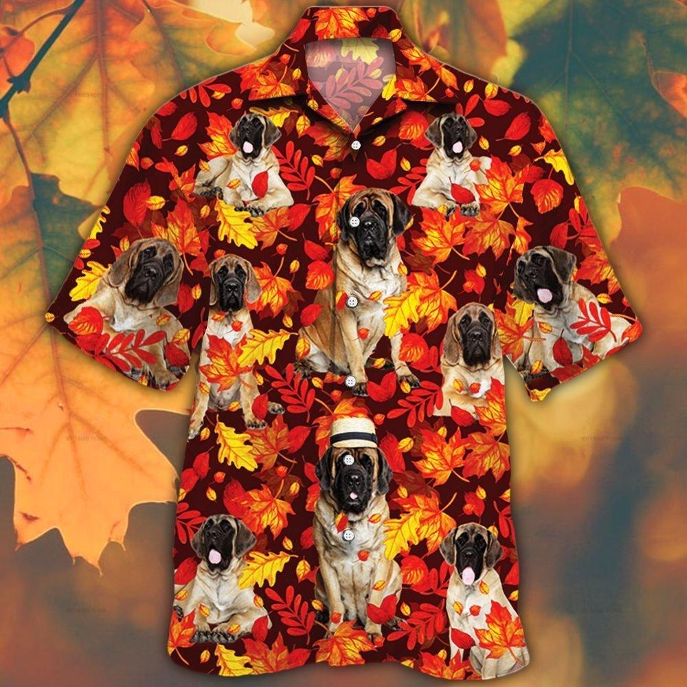 English Mastiff Dog Lovers Autumn Red Leaves Hawaiian Shirt