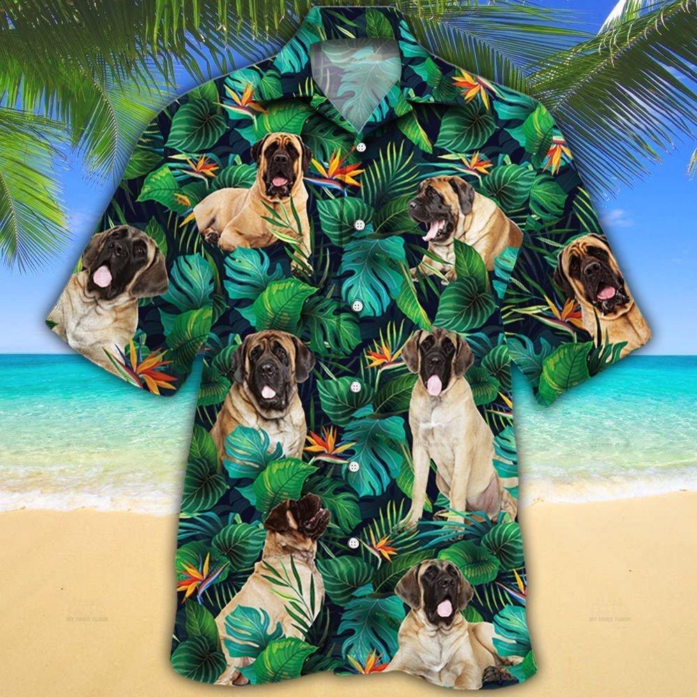 English Mastiff Dog Lovers Tropical Leaves Hawaiian Shirt