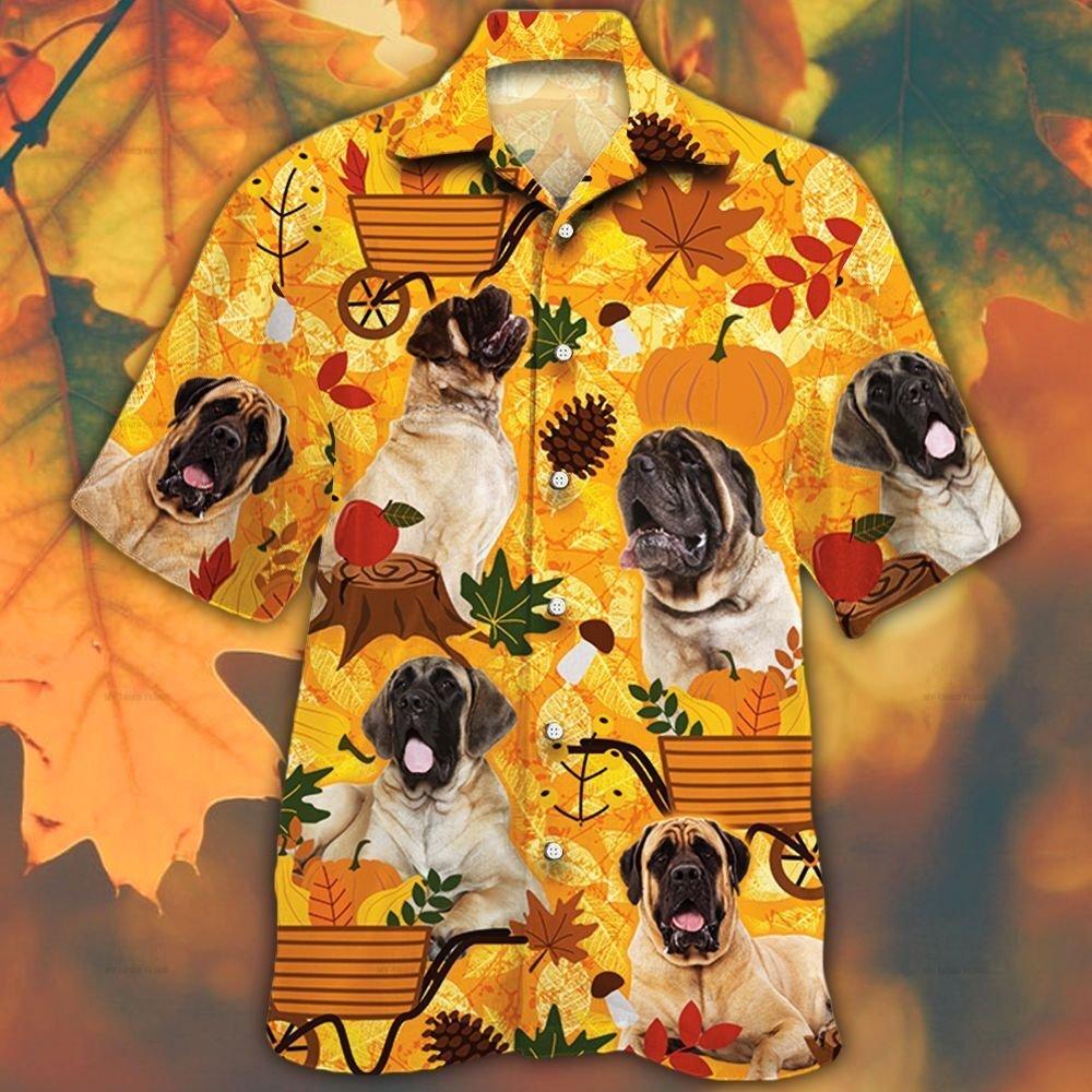 English Mastiff Dog Lovers Orange Nature Autumn Hawaiian Shirt