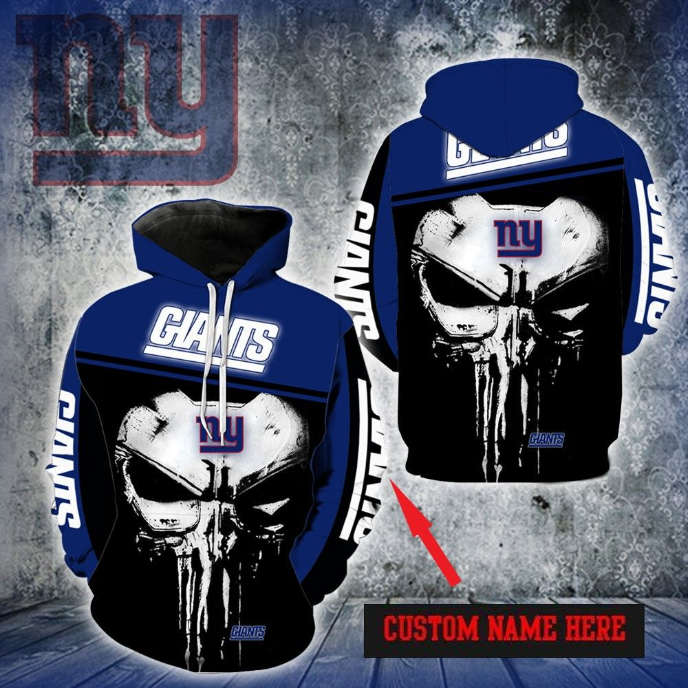 PERSONALIZED NEW YORK GIANTS SKULL HOODIE 3D