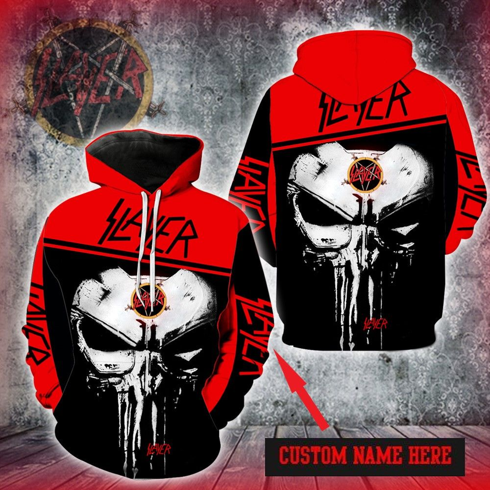 PERSONALIZED SLAYER SKULL HOODIE 3D