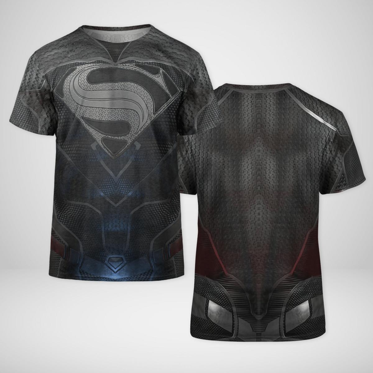 DC Black Superman Cosplay T Shirt 3D