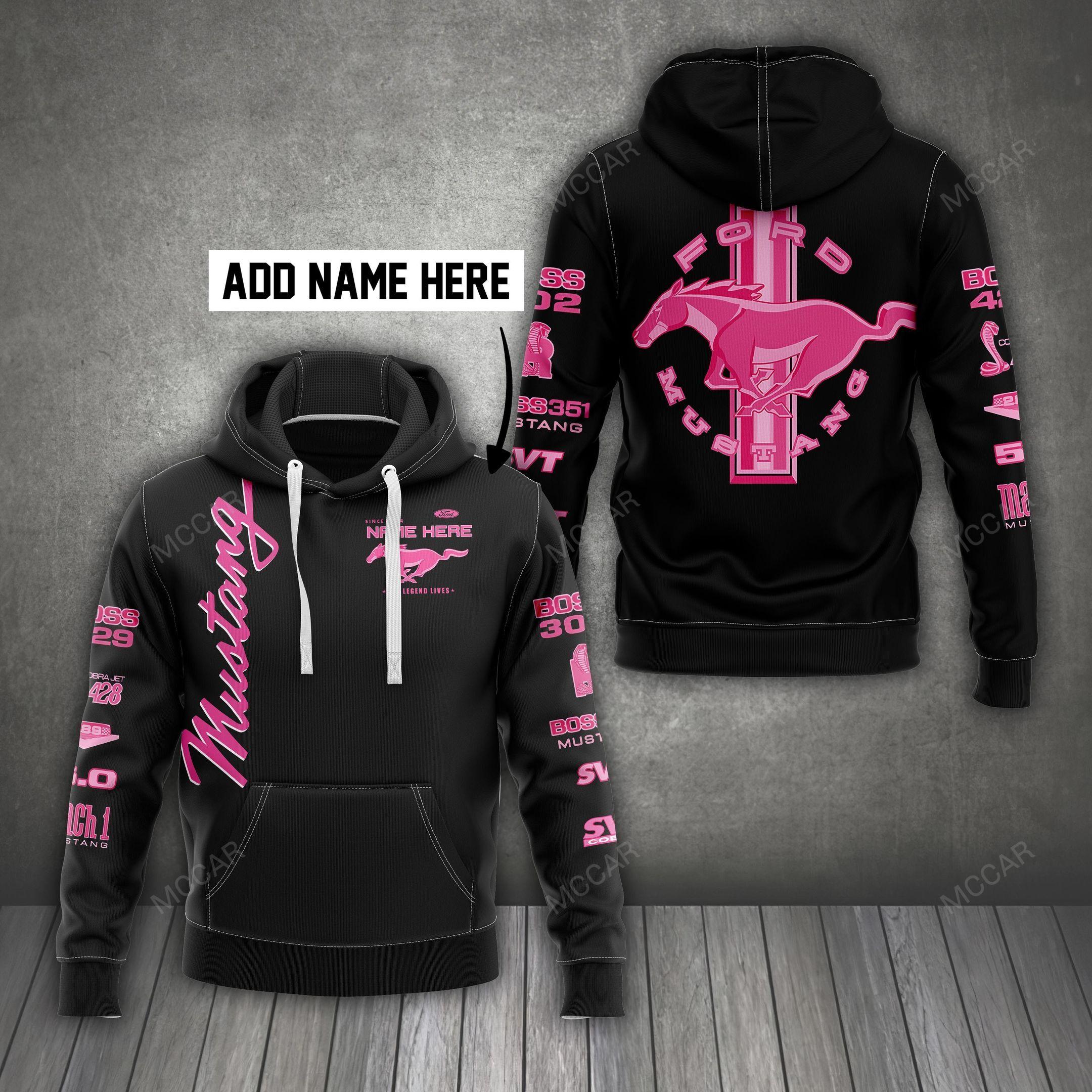 Custom Name Ford Mustang pink horse Hoodie