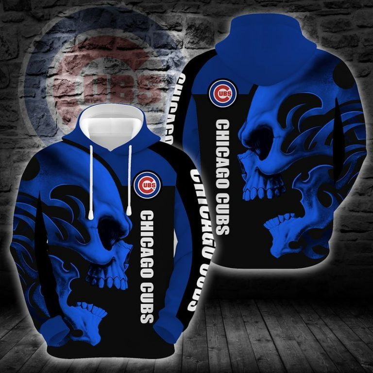 MLB Chicago Cubs Skull Blue Hoodie