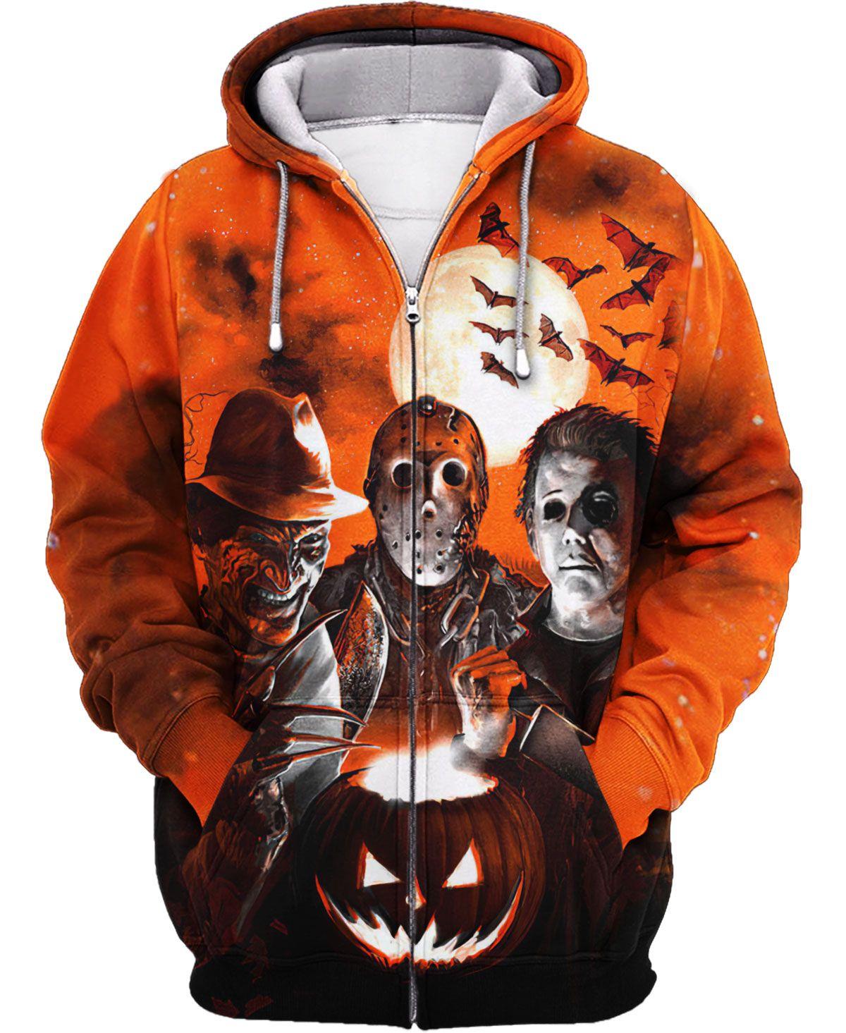 Halloween night horror murder pumpkin light Hawaiian and sweatshirt