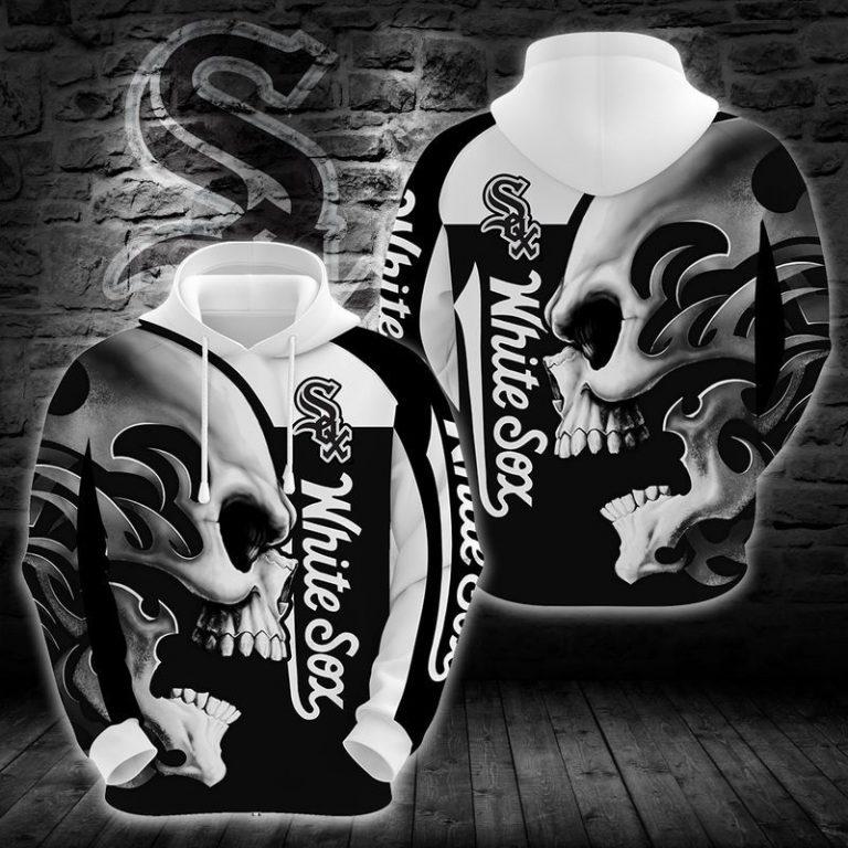 MLB Chicago White Sox Skull Hoodie 3D