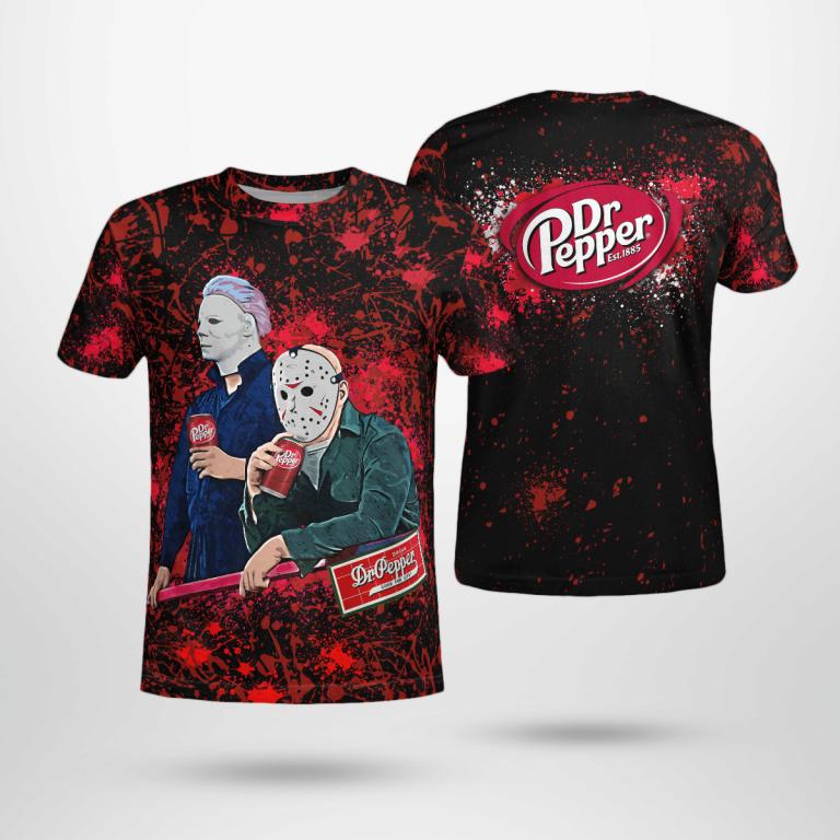 Halloween Dr Pepper Bleached Jason Voorhees Michael Myers Shirt
