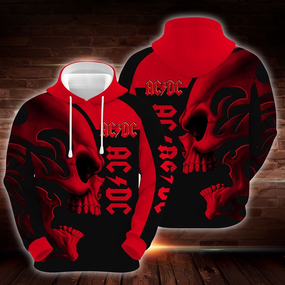 ACDC Skull Red Hoodie 3D