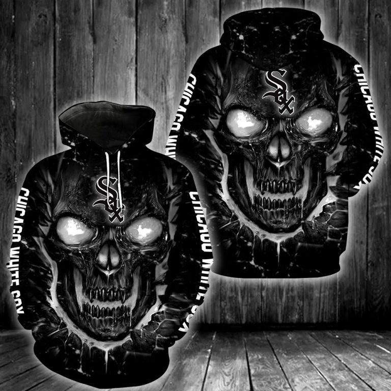 MLB Chicago White Sox Skull Black Scary Hoodie 3D