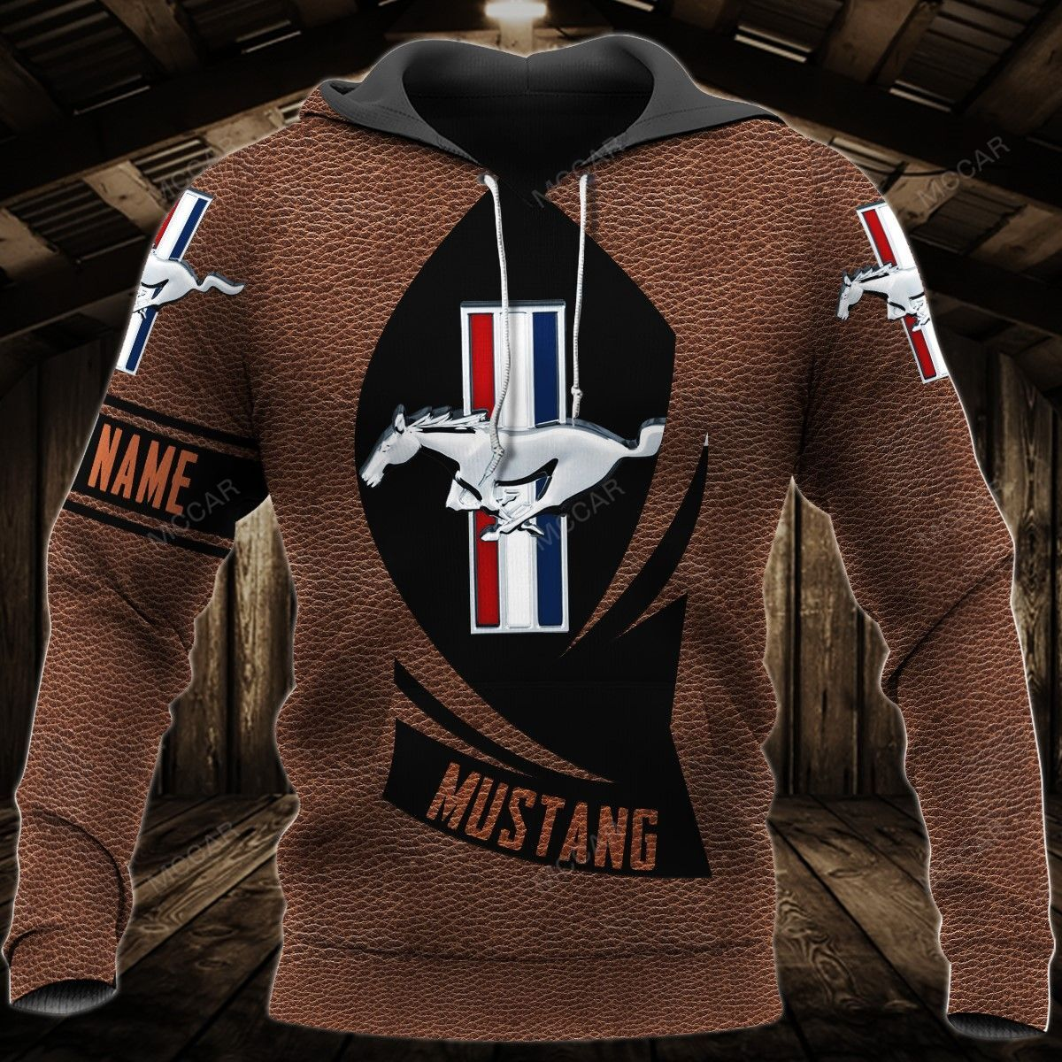 Personalized Mustang leather style Hoodie