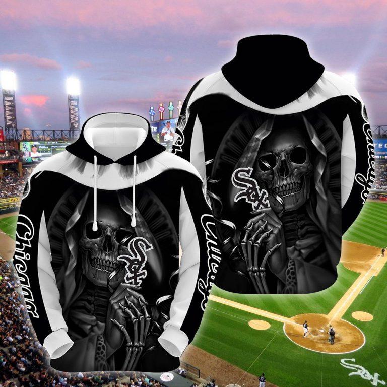 MLB Chicago White Sox Death Skull White Hoodie 3D