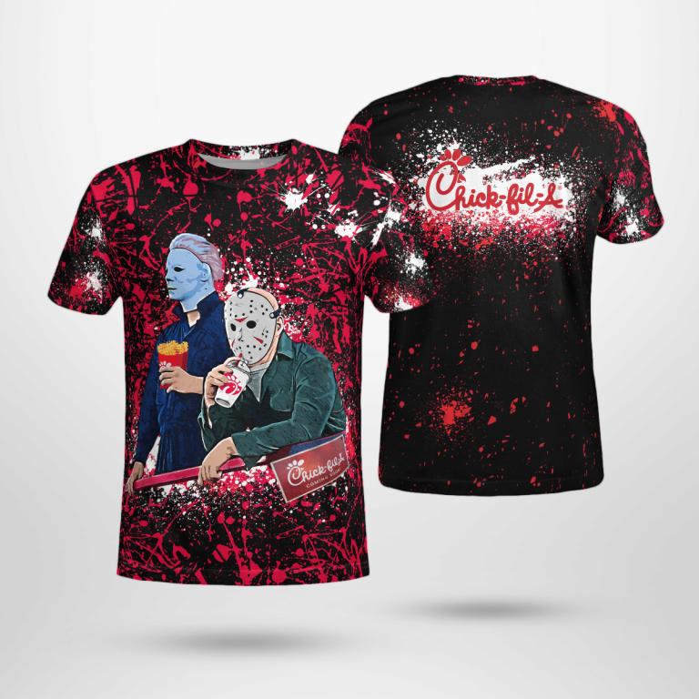 Halloween Chickfila Bleached Jason Voorhees Michael Myers Shirt