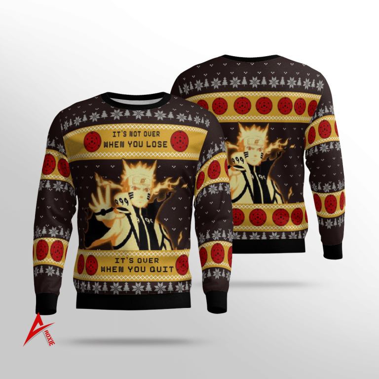 Naruto Shipuden Quotes Sweater 3D its not over when you lose