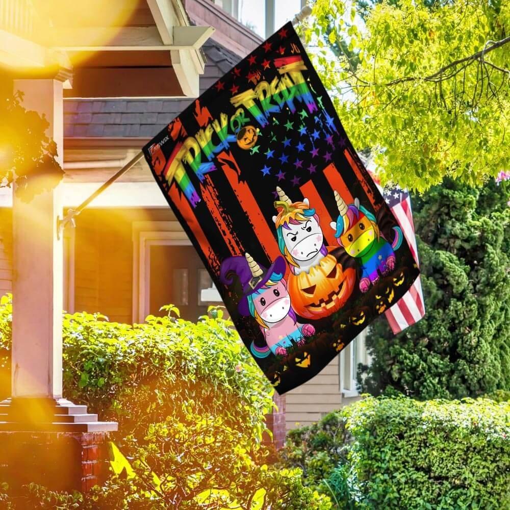 LGBT Unicorn Halloween Trick Or Treat House Flag Garden Flag