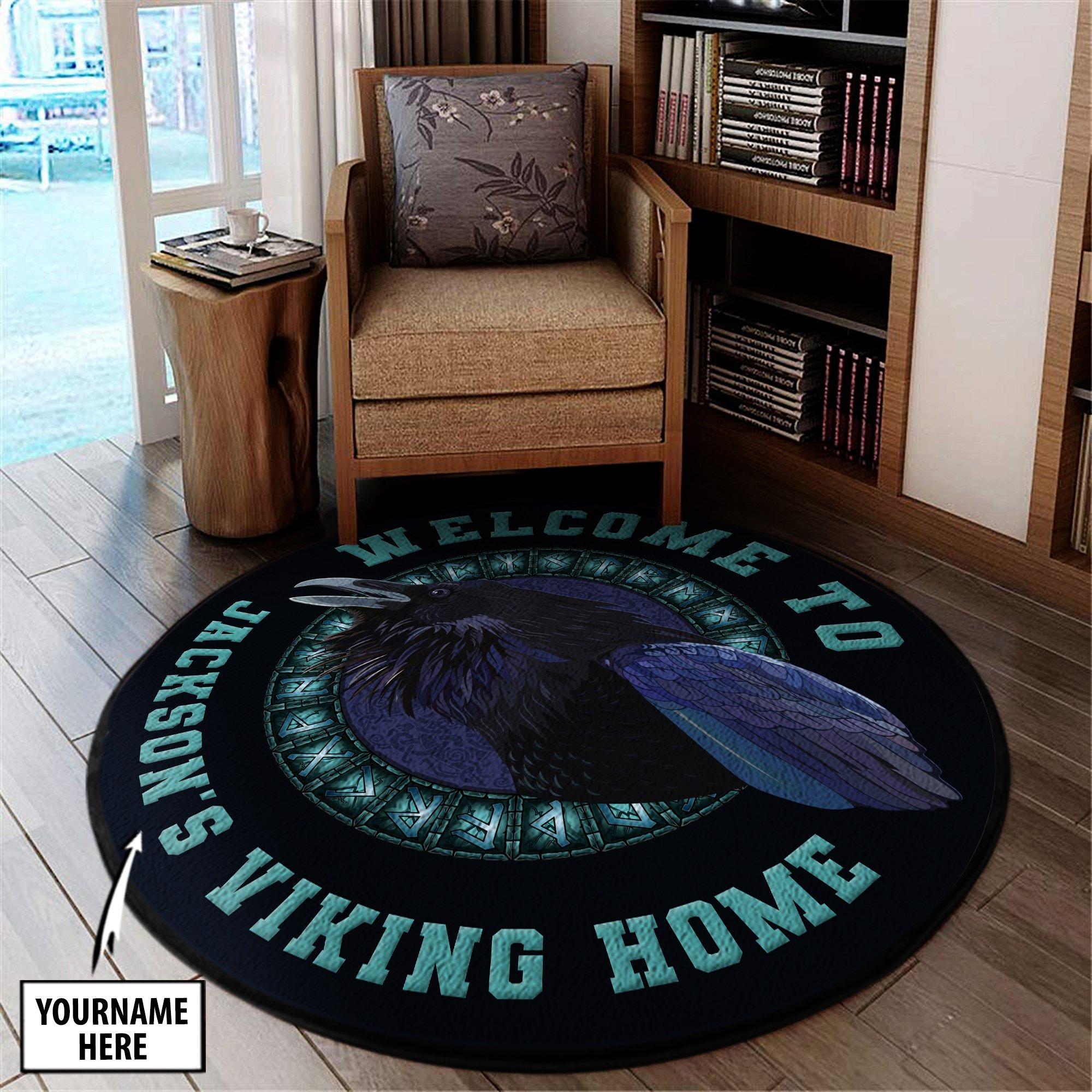 Personalize Huginn And Muninn Odins Ravens Viking Round Mat