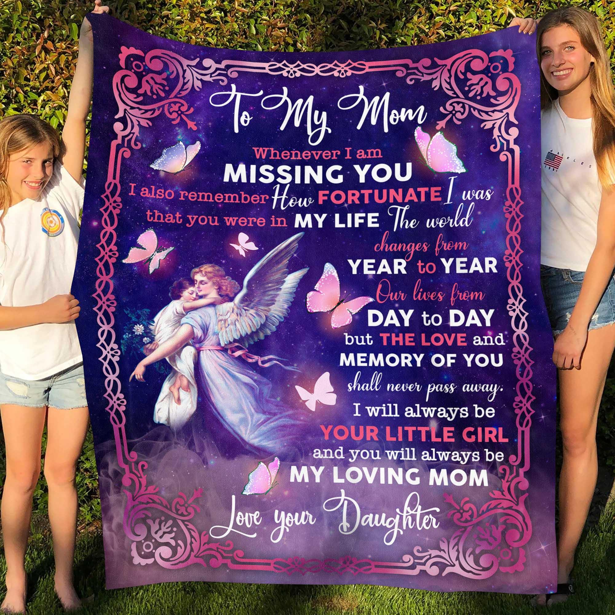 I Am Missing You I Remember How Fortunate I Was Mother Gift Fleece Blanket