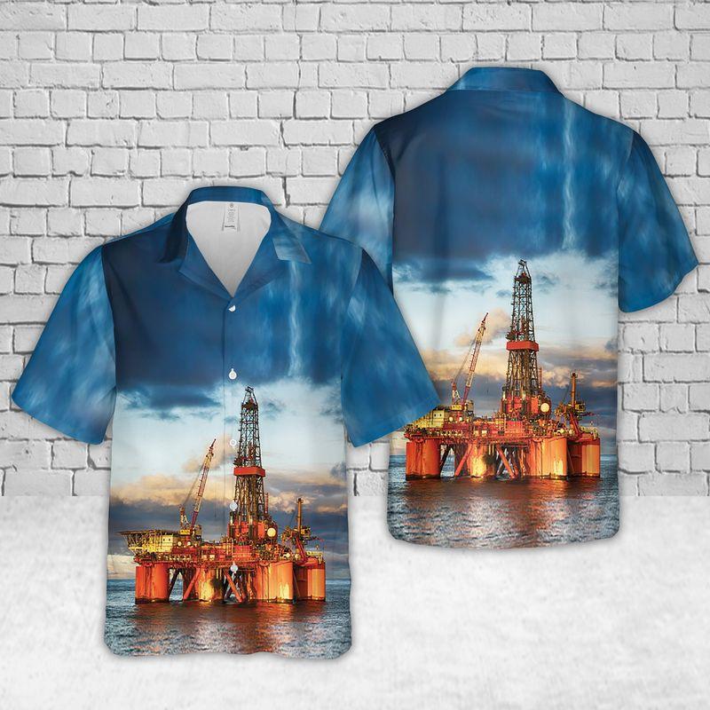 Chevron Offshore Drilling Rig Hawaiian Shirt