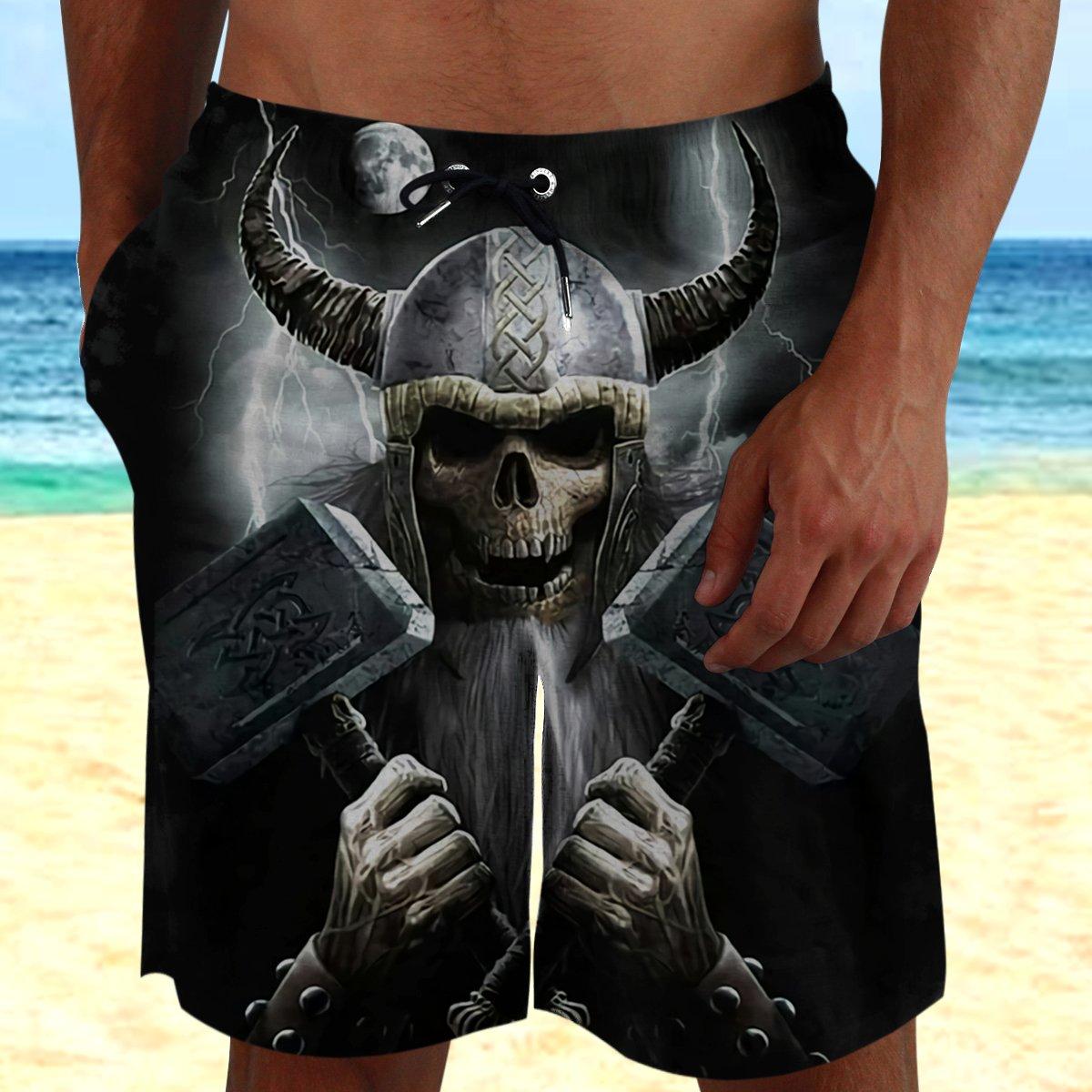 Viking Skull with Mjonlir Beach Shorts