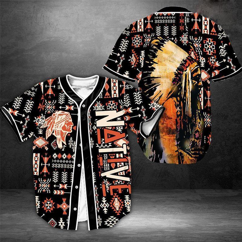 Native American Souls Baseball Jersey Shirt