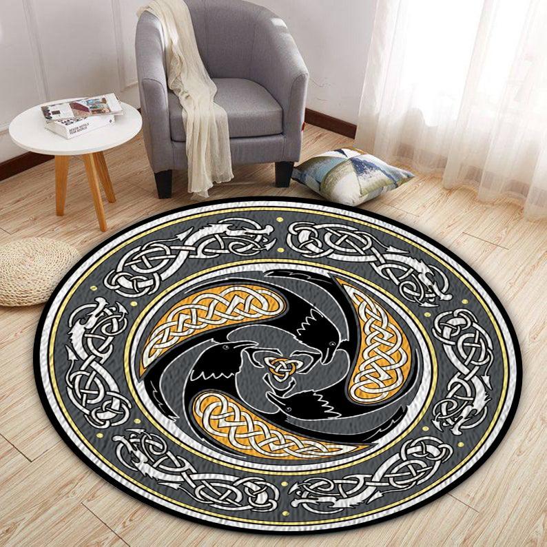 Viking shield Norsemen mythology Round Rug