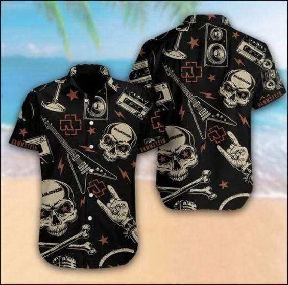 Rammstein Black Skull Guitar Hawaiian Button Up Shirts