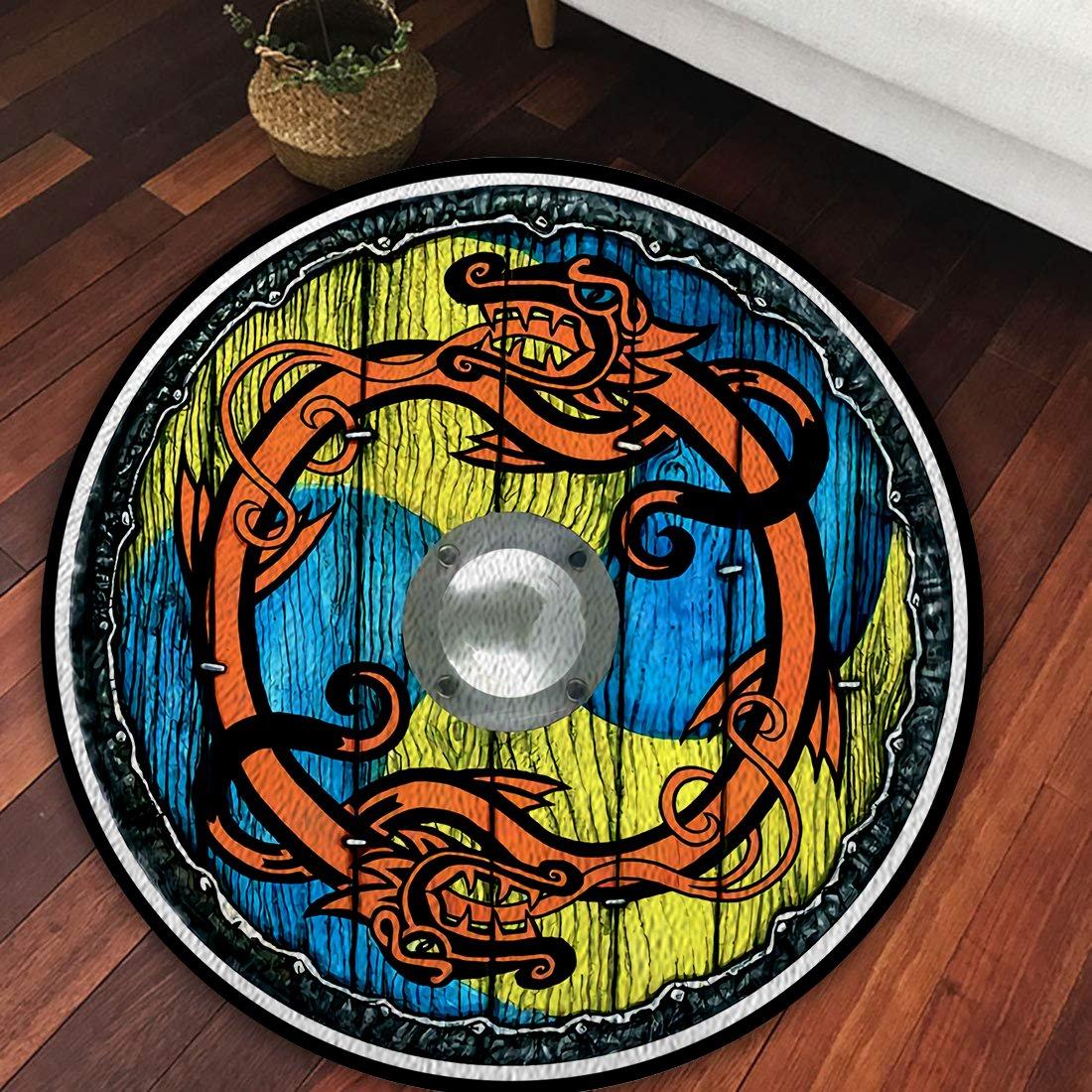 Viking shield with dragon Round Rug