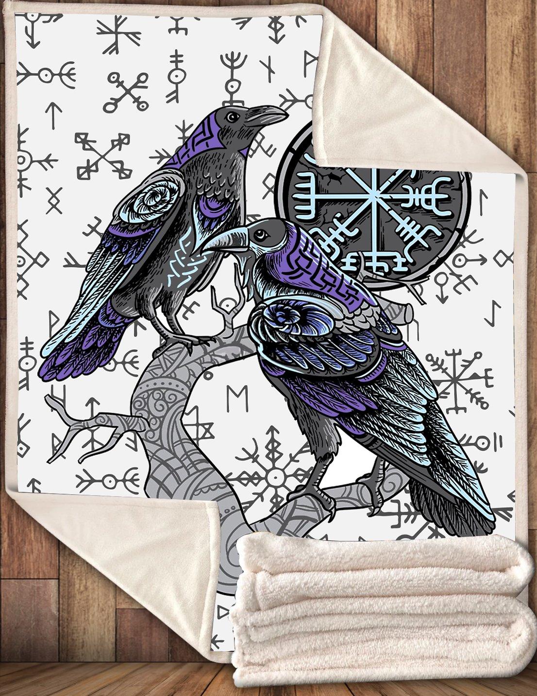 Viking runes symbol huginn and muninn fleece blanket
