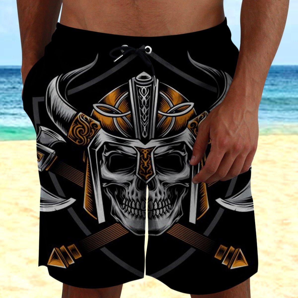Viking warrior With Skull Beach Shorts