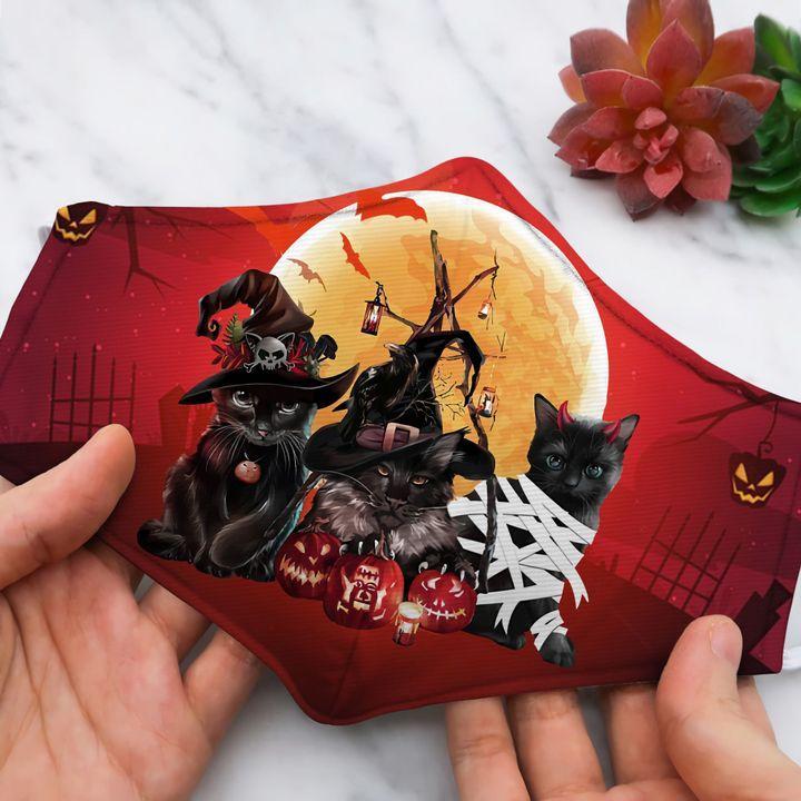 Halloween 3 black Cat Big Moon Full Printed face mask