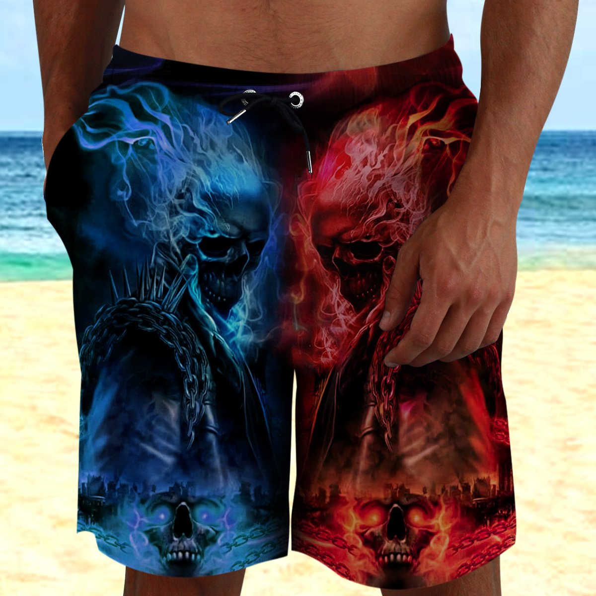 Skull Red and Blue Frame Beach Shorts