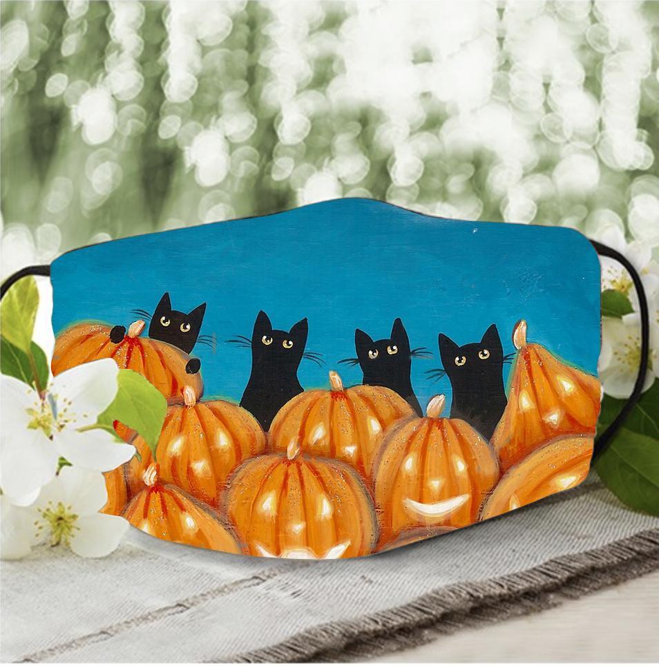 Halloween Black Cat pumpkin painting face mask