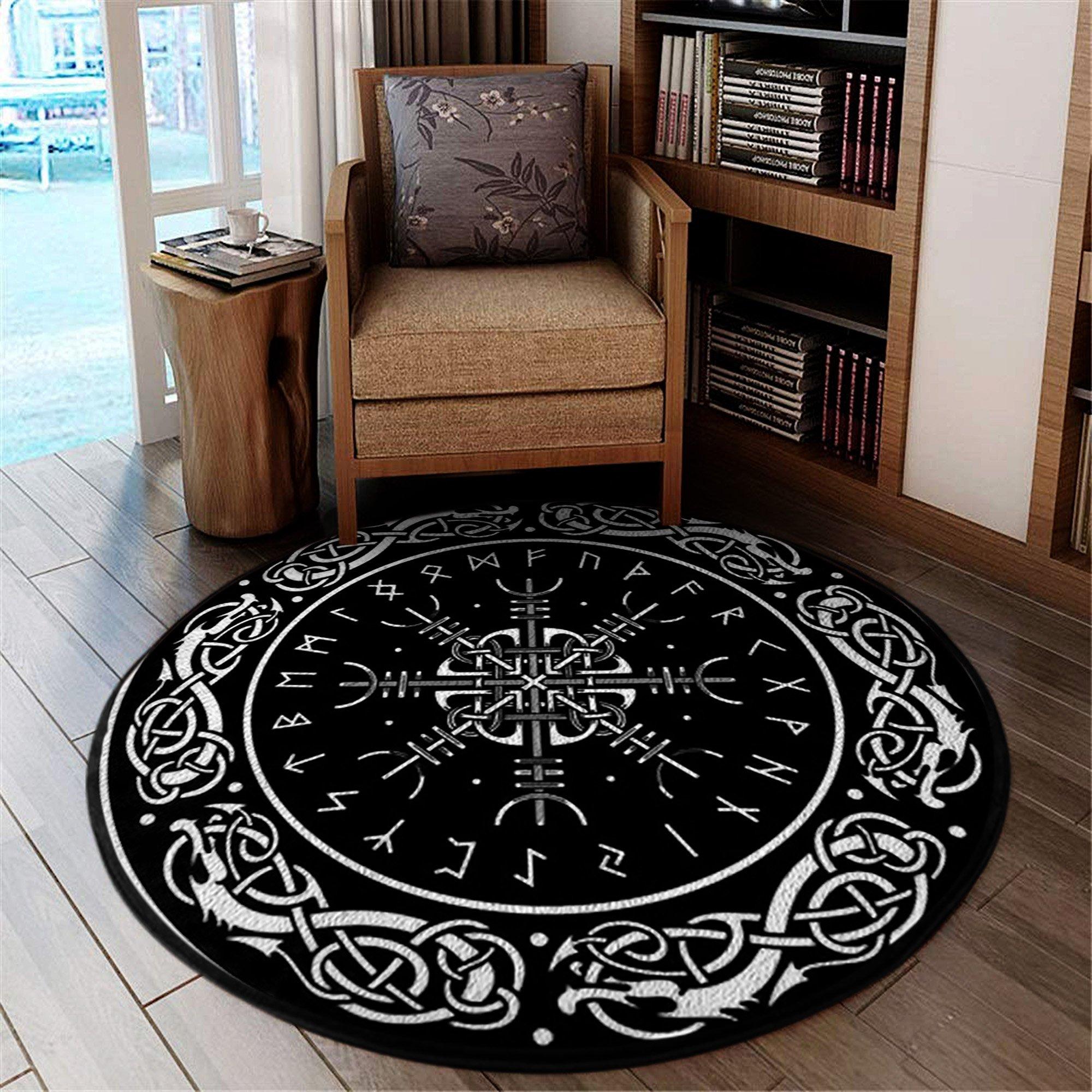 Viking Shield Clock Round Rug