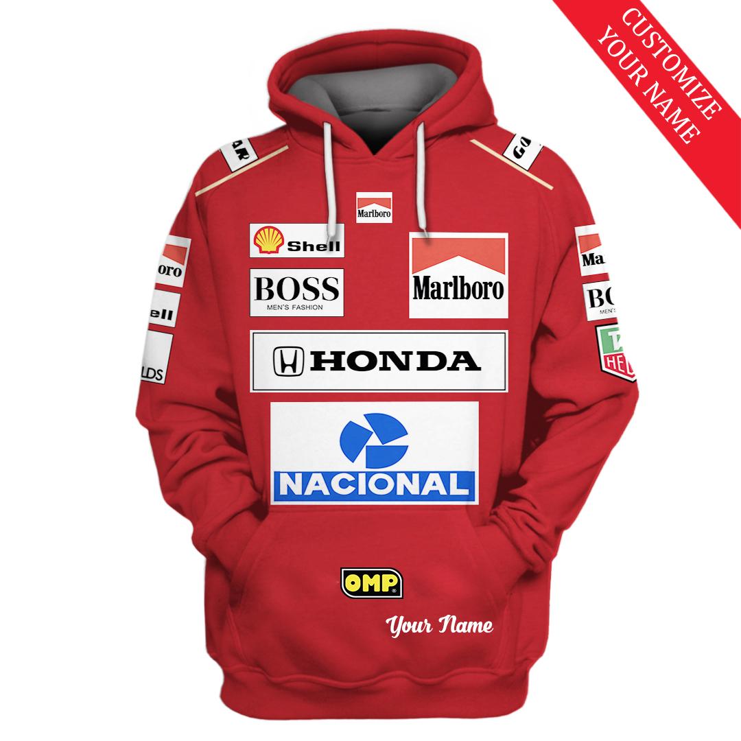 Custom Name Nacional Marlboro Honda F1 racing hoodie and T shirt